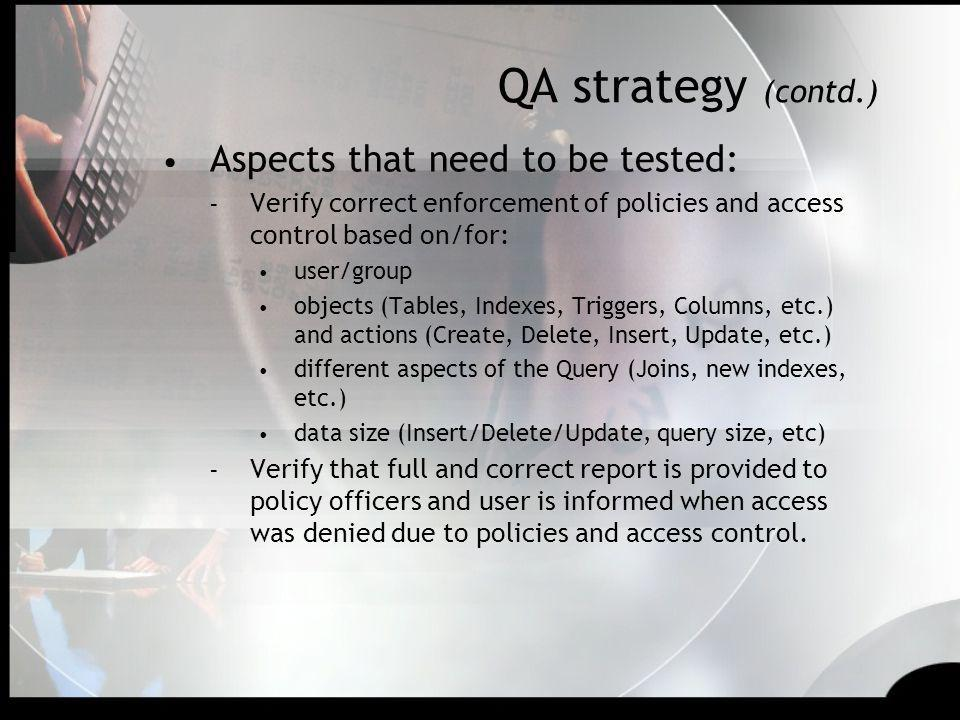 QA strategy (contd.) Aspects that need to be tested: