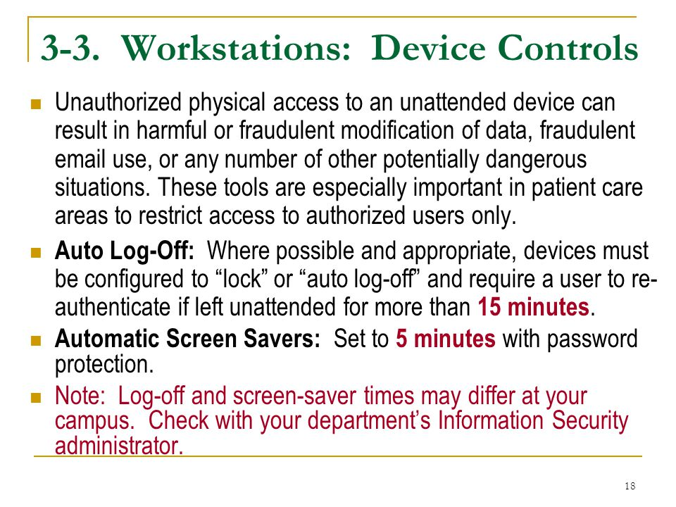 3-3. Workstations: Device Controls