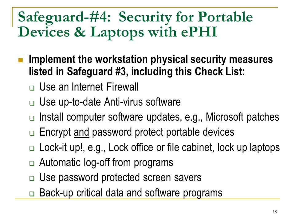 Safeguard-#4: Security for Portable Devices & Laptops with ePHI
