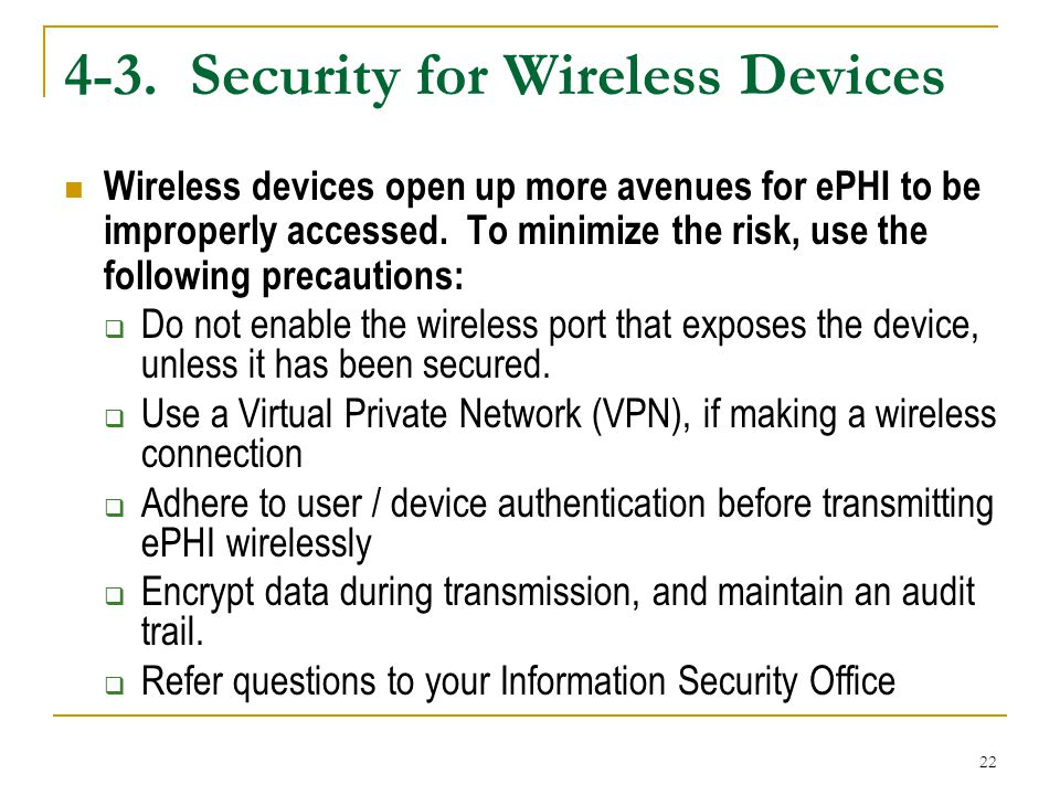 4-3. Security for Wireless Devices