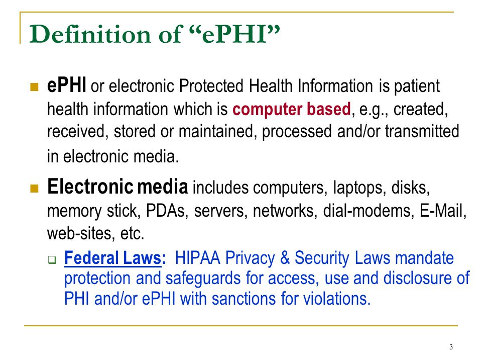 Definition of ePHI