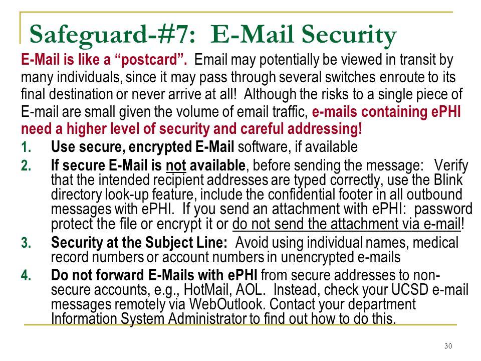 Safeguard-#7: E-Mail Security