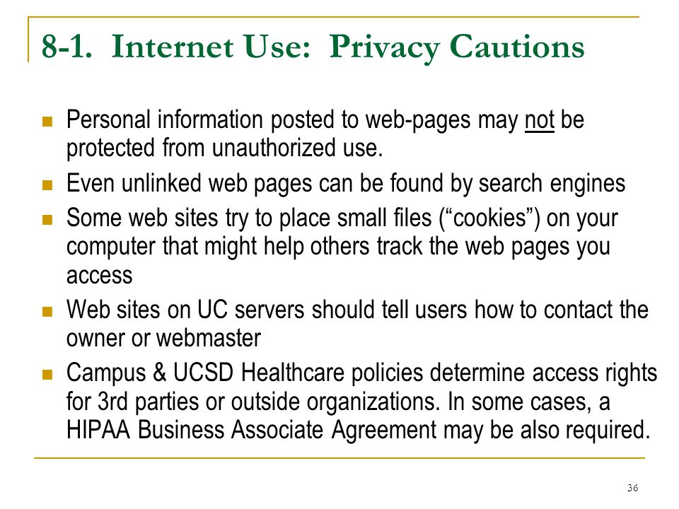 8-1. Internet Use: Privacy Cautions