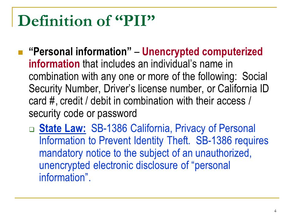 Definition of PII