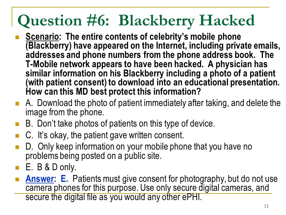 Question #6: Blackberry Hacked