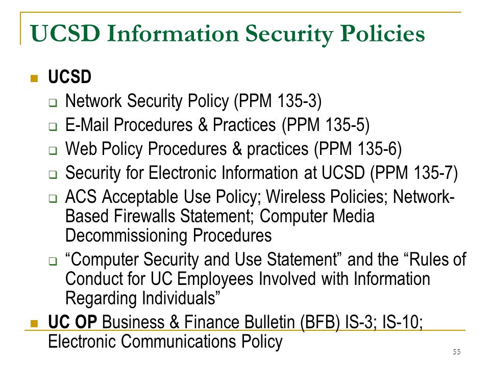 UCSD Information Security Policies