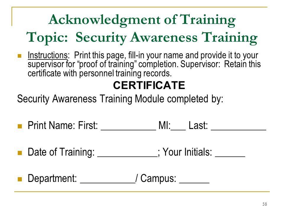 Acknowledgment of Training Topic: Security Awareness Training
