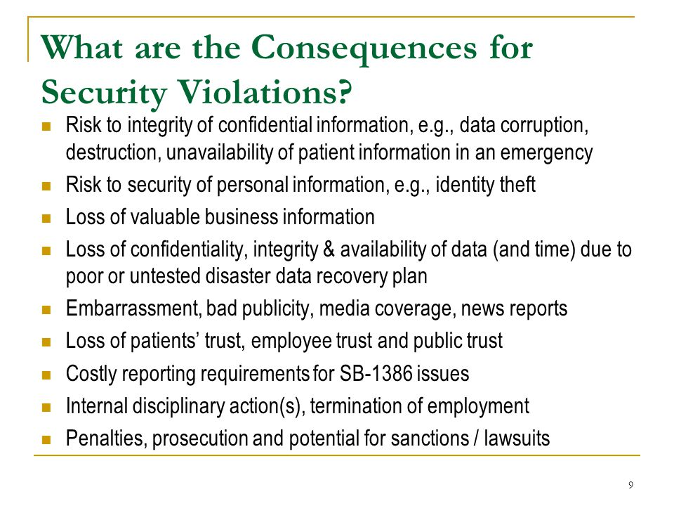 What are the Consequences for Security Violations