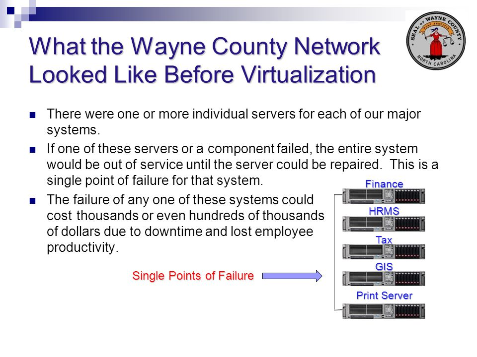 What the Wayne County Network Looked Like Before Virtualization