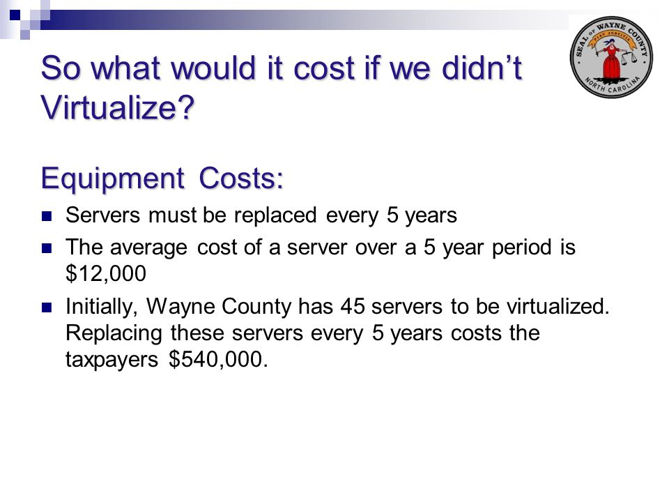 So what would it cost if we didn't Virtualize