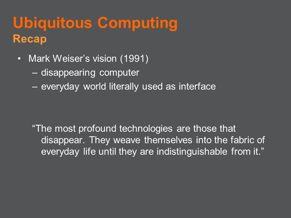 Ubiquitous Computing Recap Mark Weiser's vision (1991)