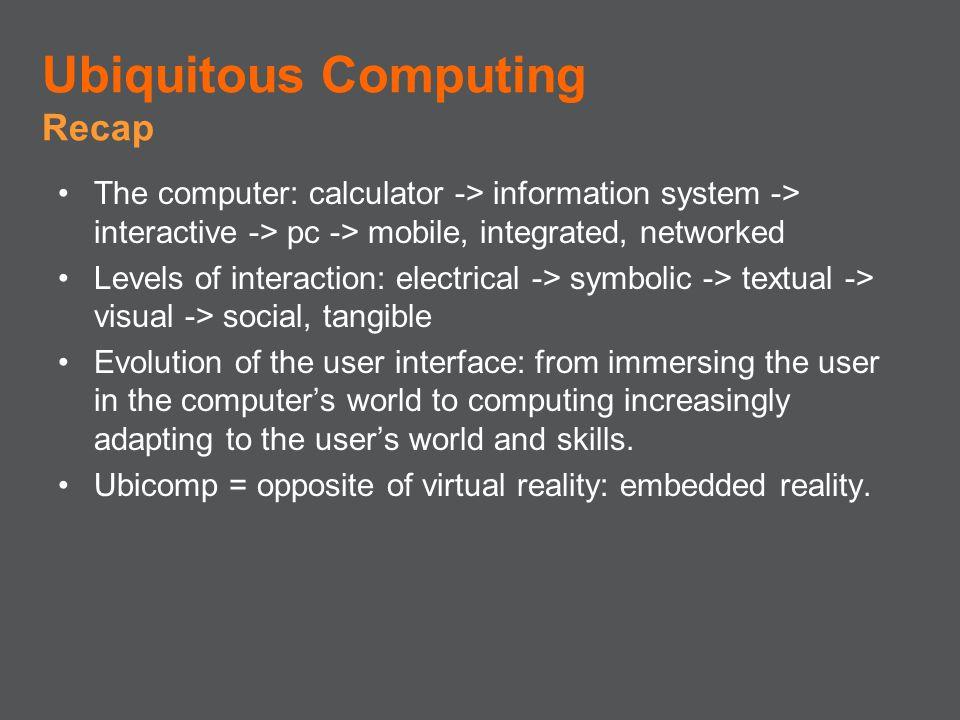 Ubiquitous Computing Recap