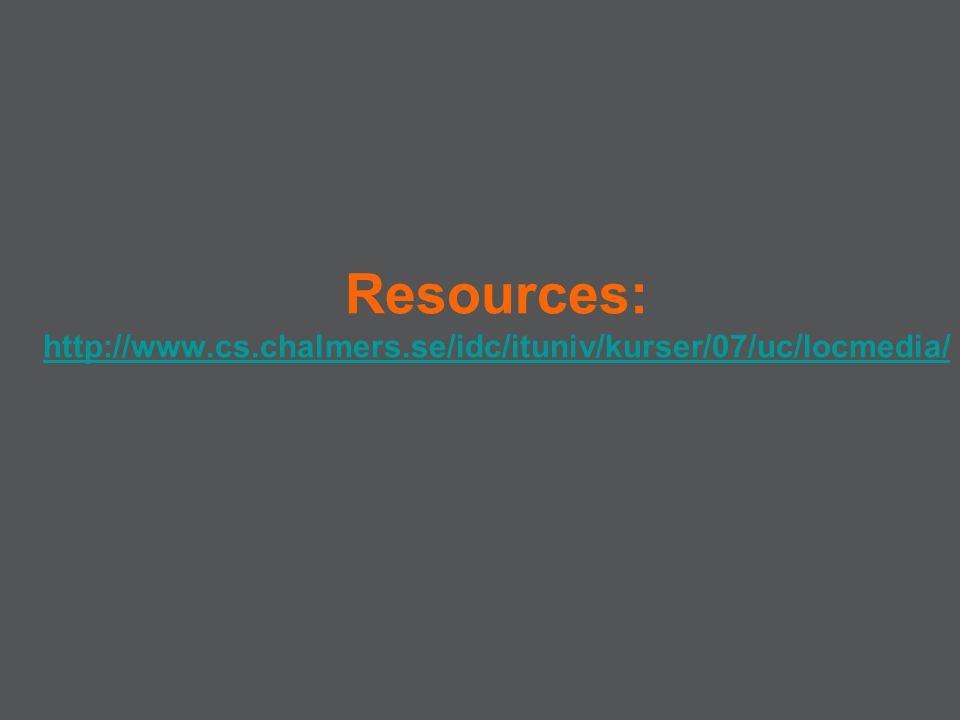 Resources: http://www.cs.chalmers.se/idc/ituniv/kurser/07/uc/locmedia/