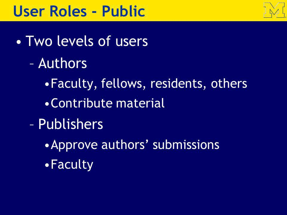 User Roles - Public Two levels of users Authors Publishers