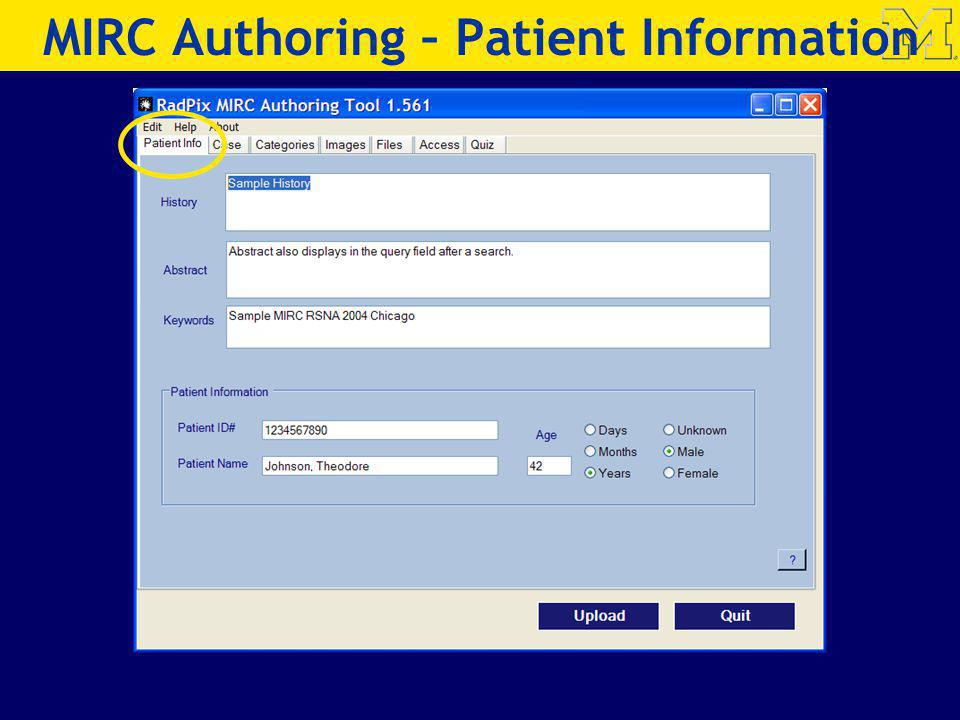 MIRC Authoring – Patient Information