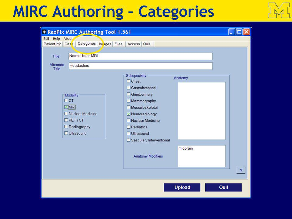 MIRC Authoring – Categories