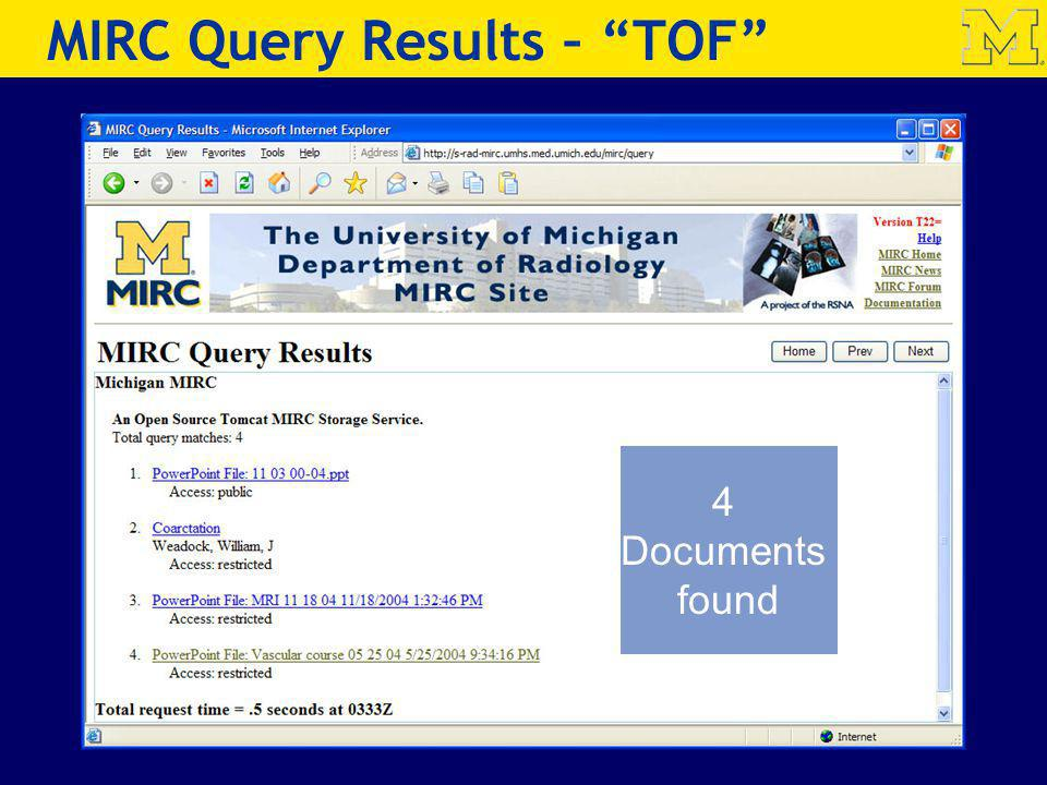MIRC Query Results – TOF