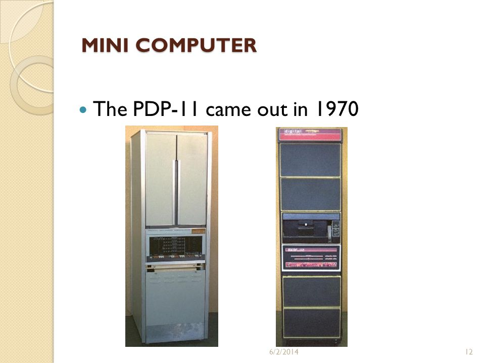MINI COMPUTER The PDP-11 came out in 1970 3/31/2017