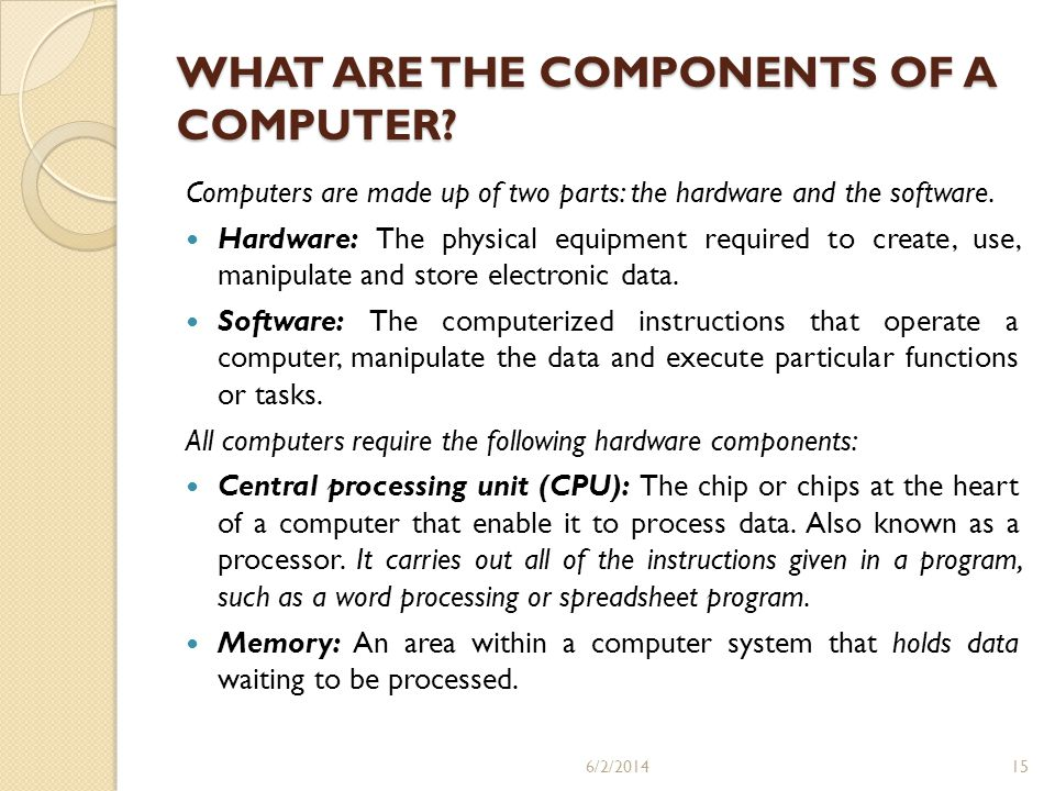 WHAT ARE THE COMPONENTS OF A COMPUTER