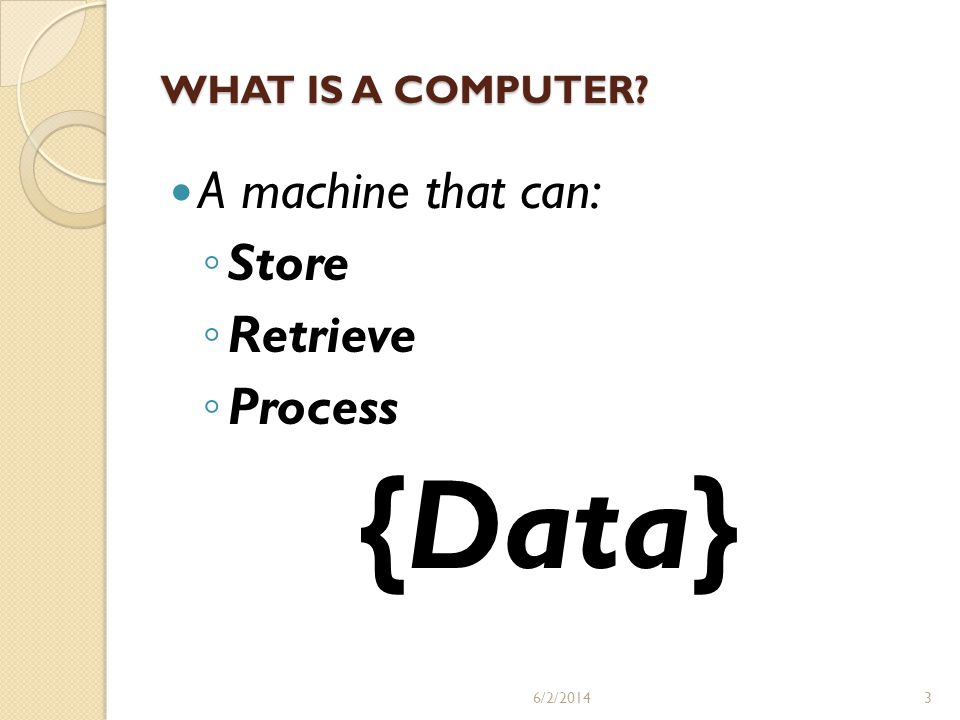 {Data} A machine that can: Store Retrieve Process WHAT IS A COMPUTER