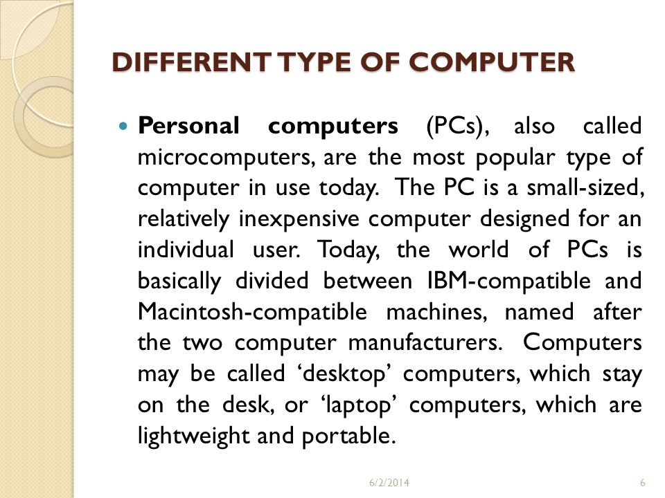 DIFFERENT TYPE OF COMPUTER
