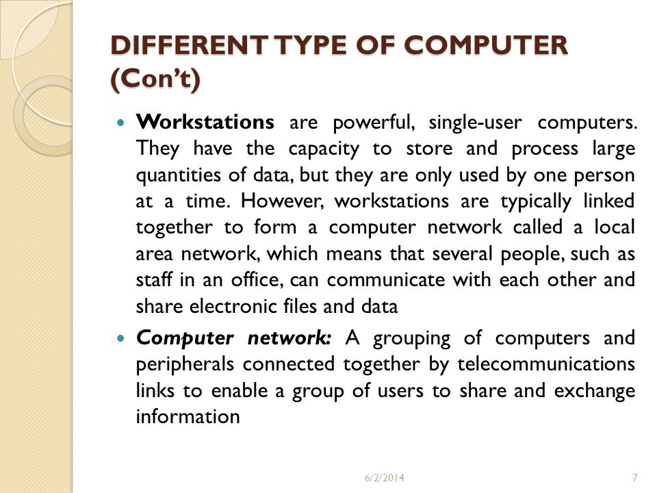 DIFFERENT TYPE OF COMPUTER (Con't)