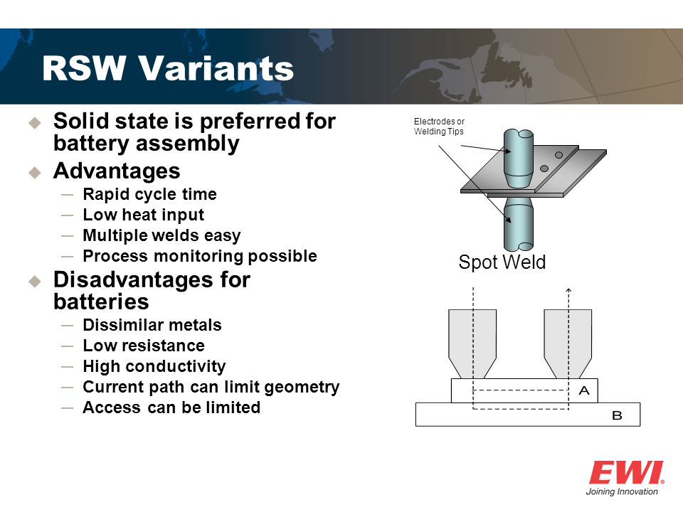 RSW Variants Solid state is preferred for battery assembly Advantages