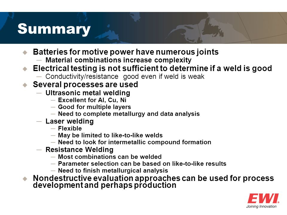 Summary Batteries for motive power have numerous joints