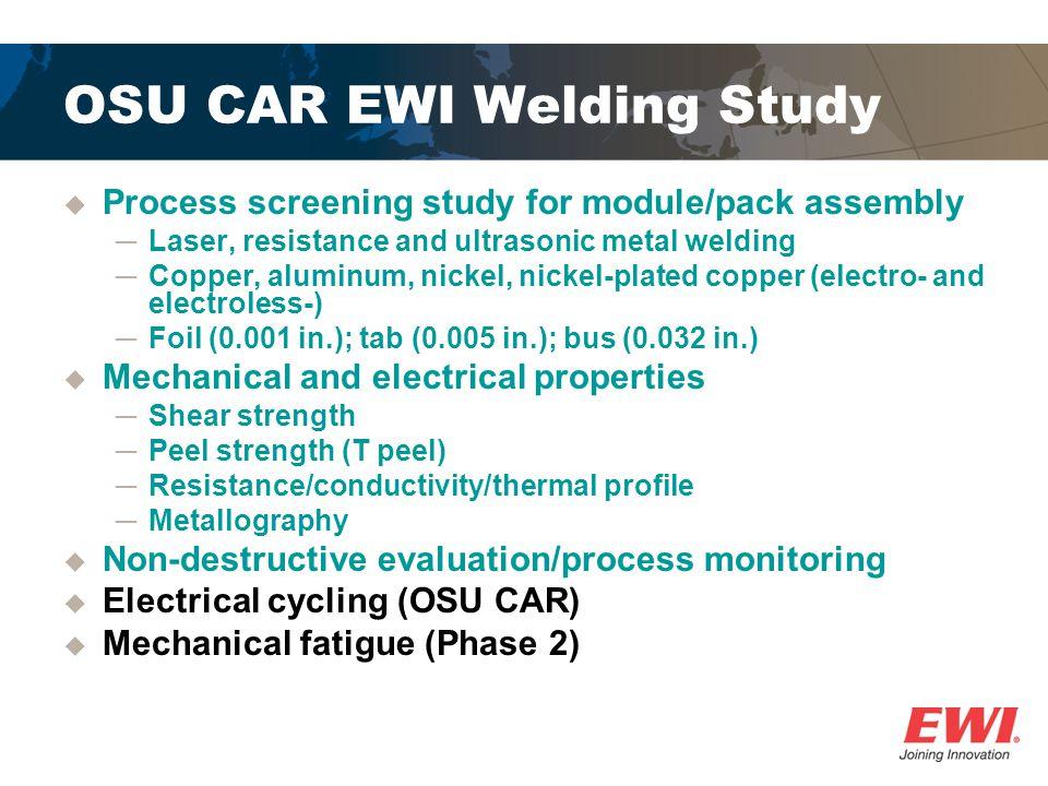 OSU CAR EWI Welding Study