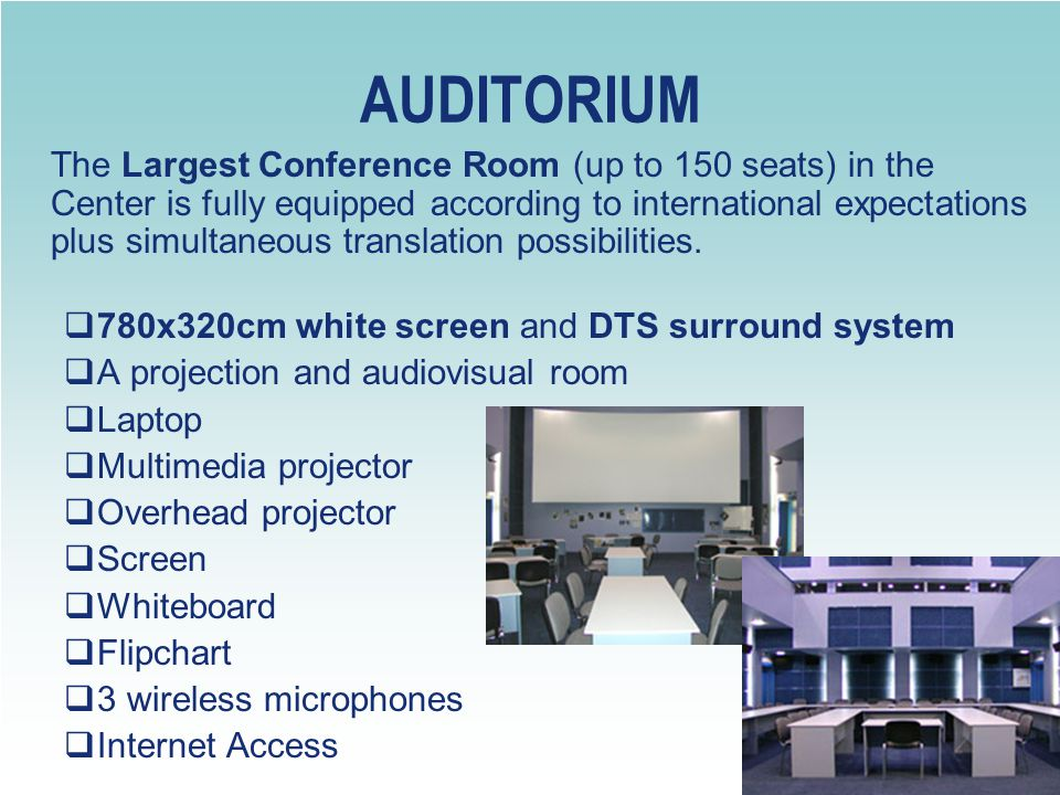 AUDITORIUM 780x320cm white screen and DTS surround system
