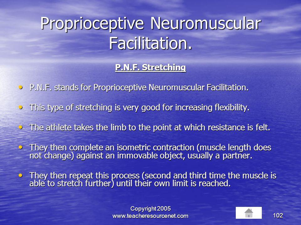 Proprioceptive Neuromuscular Facilitation.