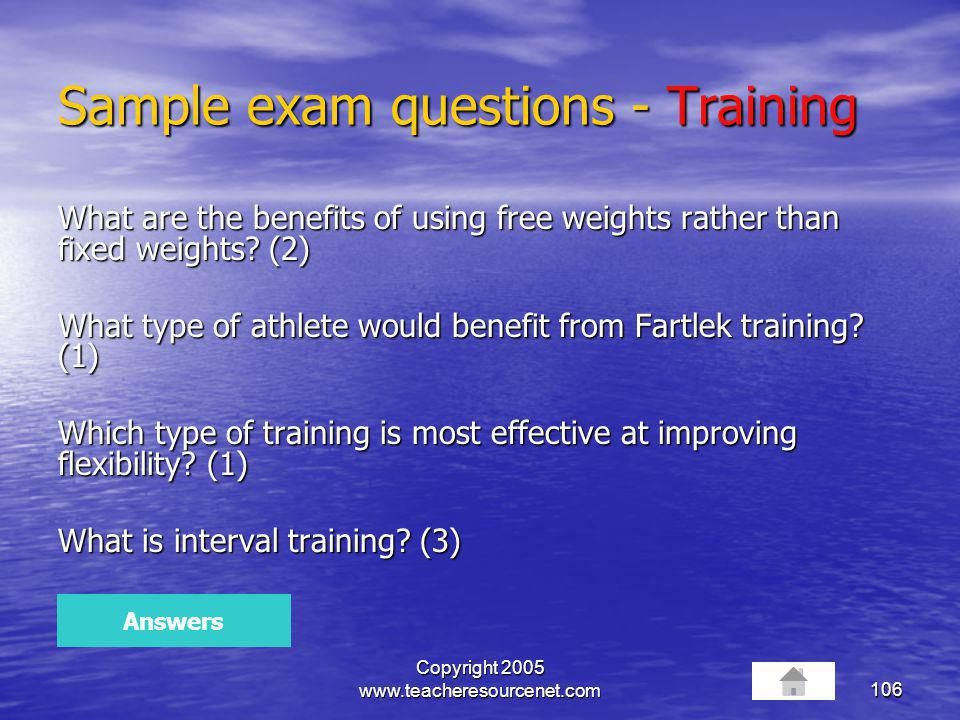 Sample exam questions - Training