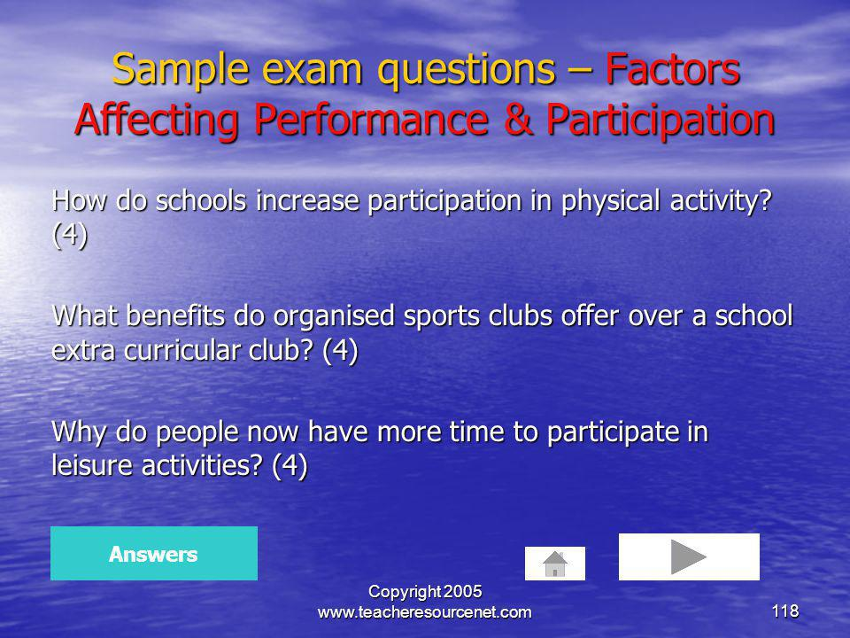 Sample exam questions – Factors Affecting Performance & Participation