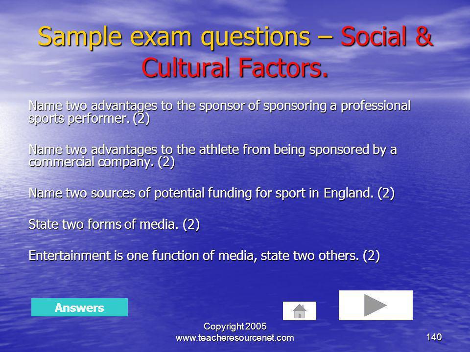 Sample exam questions – Social & Cultural Factors.