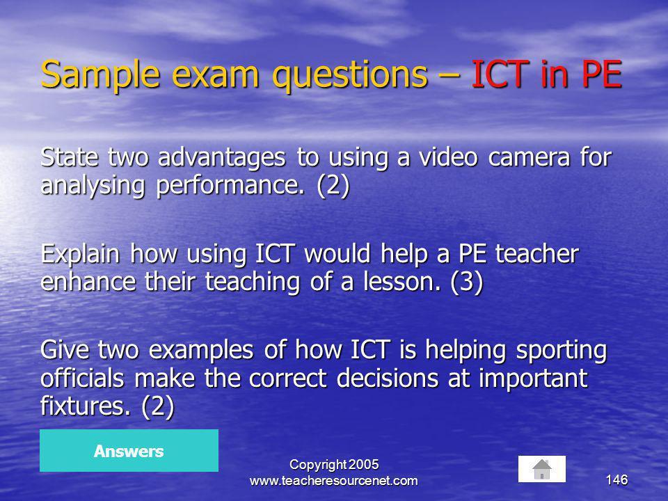 Sample exam questions – ICT in PE