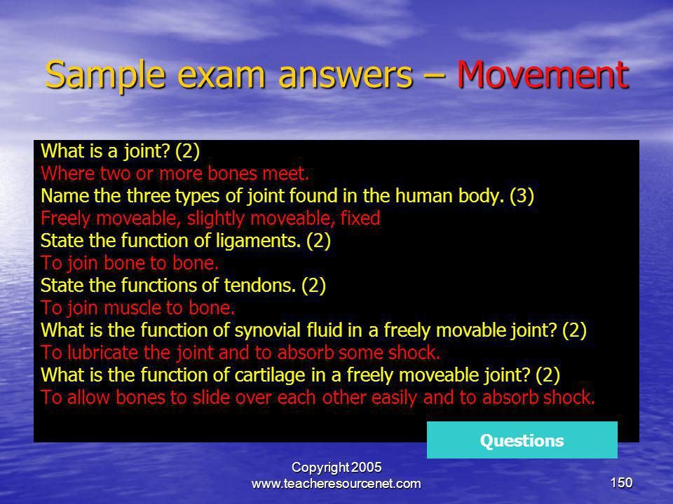 Sample exam answers – Movement