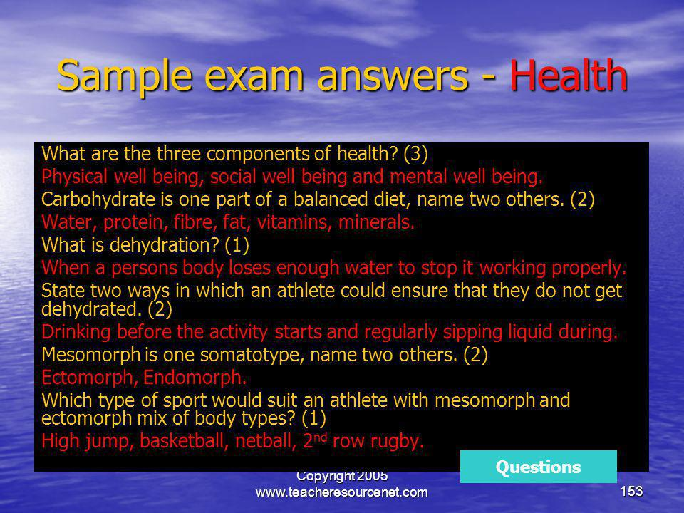 Sample exam answers - Health
