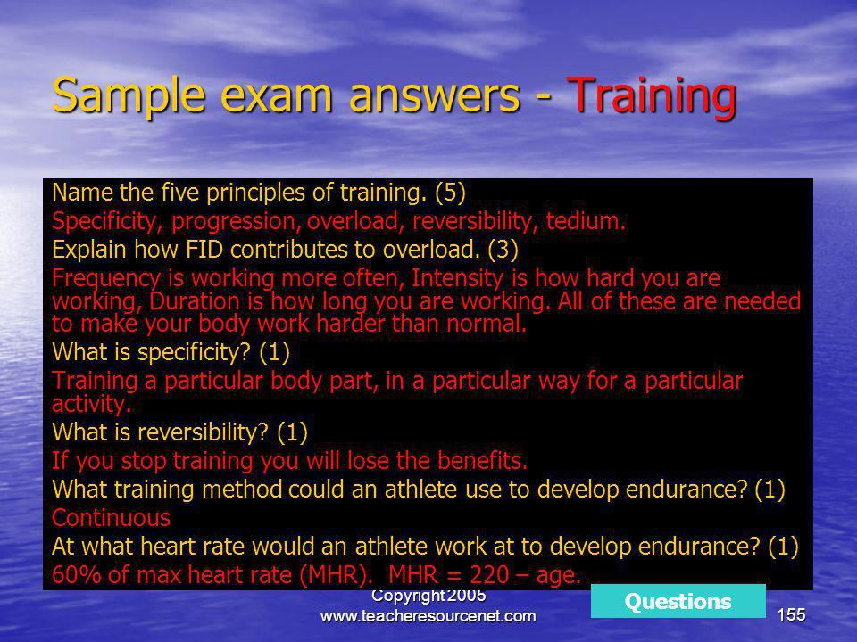 Sample exam answers - Training