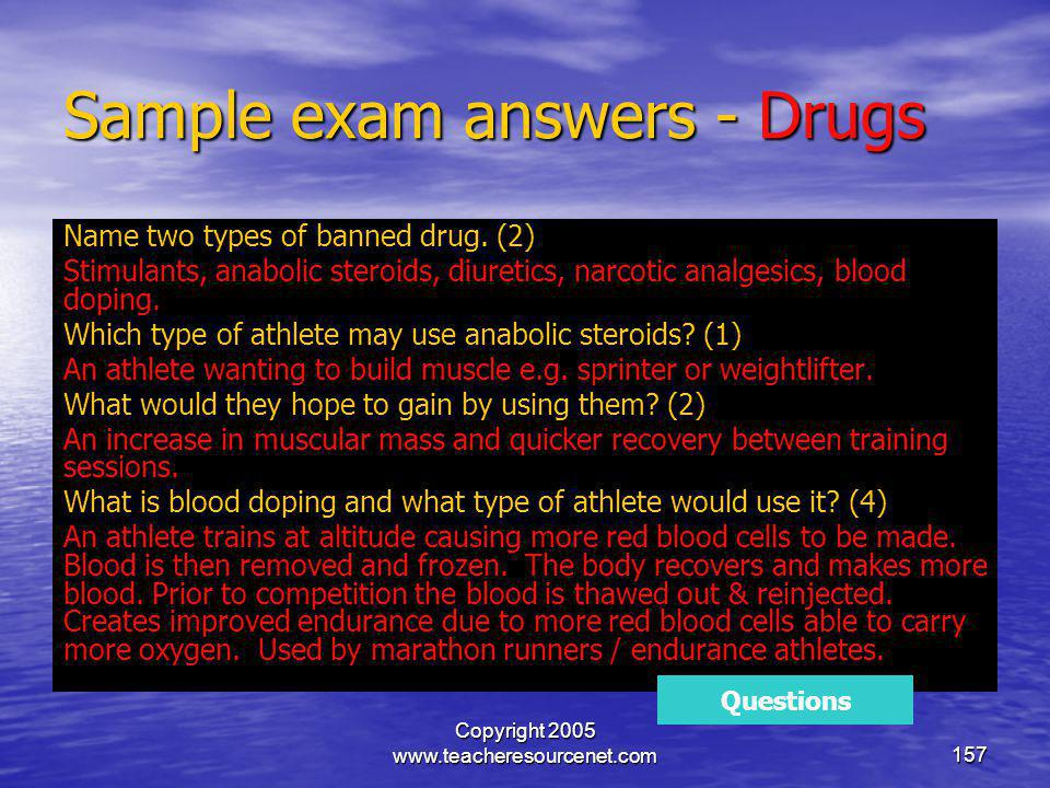 Sample exam answers - Drugs