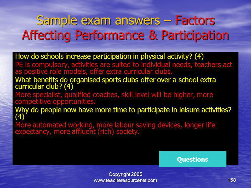 Sample exam answers – Factors Affecting Performance & Participation
