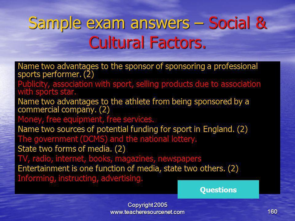 Sample exam answers – Social & Cultural Factors.