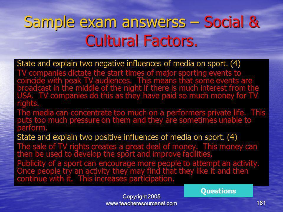 Sample exam answerss – Social & Cultural Factors.