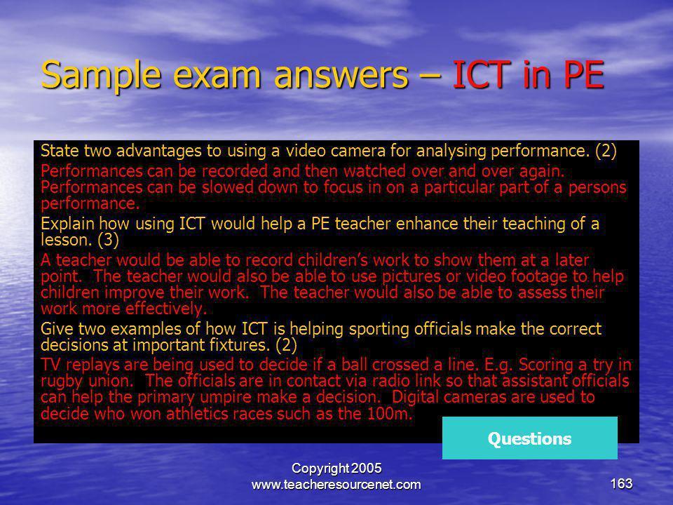 Sample exam answers – ICT in PE