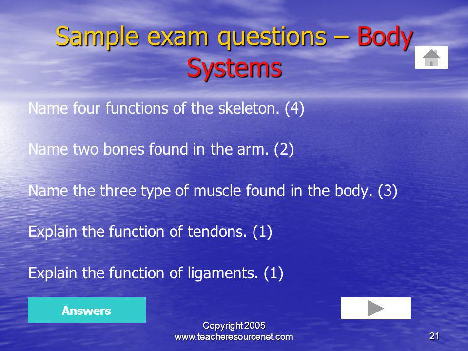 Sample exam questions – Body Systems