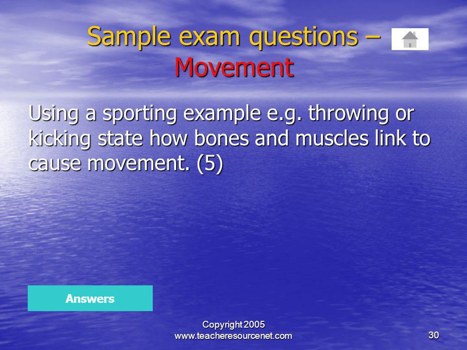 Sample exam questions – Movement