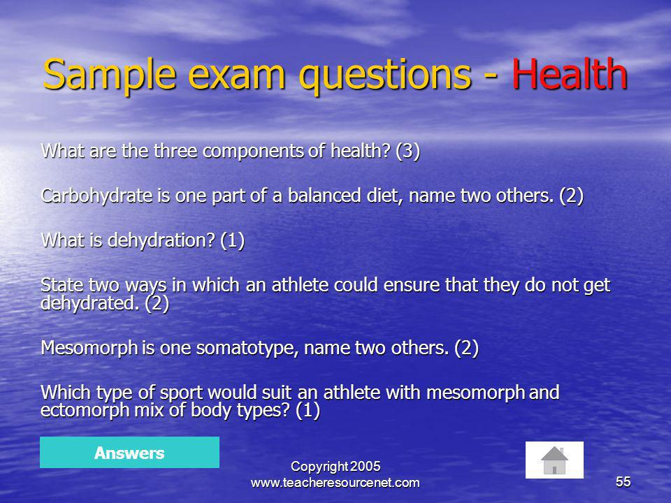 Sample exam questions - Health