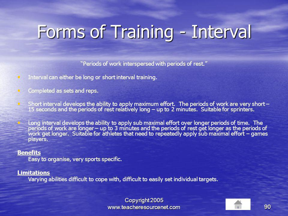 Forms of Training - Interval