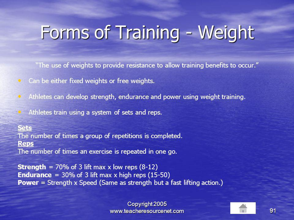 Forms of Training - Weight