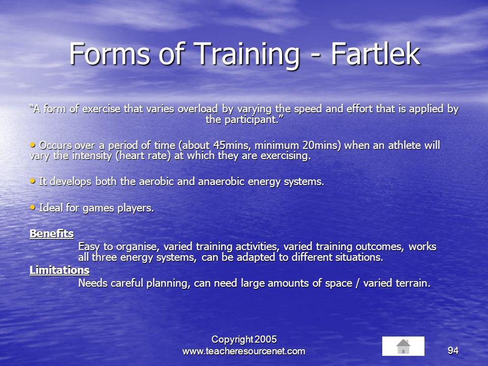 Forms of Training - Fartlek
