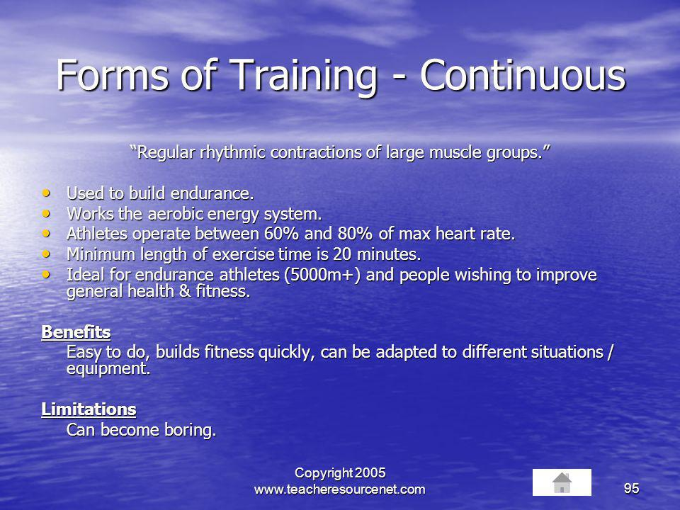 Forms of Training - Continuous